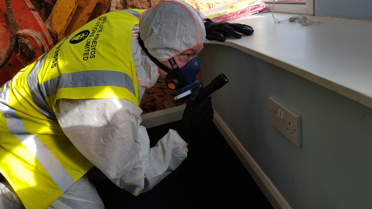Asbestos Surveypr carrying out a survey for a Mortgage