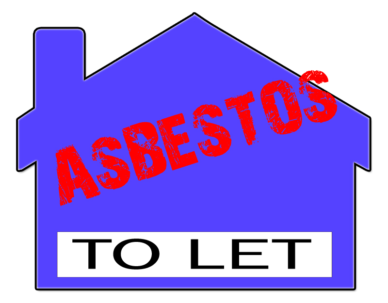 A symbol of a house with asbestos warning label